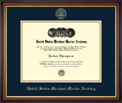 United States Merchant Marine Academy Diploma Frame - Gold Embossed Diploma Frame in Regency Gold