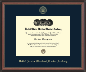 United States Merchant Marine Academy Diploma Frame - Gold Embossed Diploma Frame in Regency