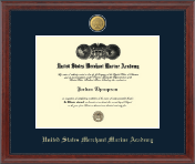 United States Merchant Marine Academy Diploma Frame - 23K Medallion Diploma Frame in Signature