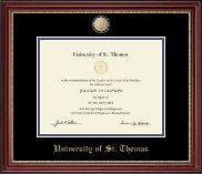 University of St. Thomas Diploma Frame - Brass Masterpiece Medallion Diploma Frame in Kensington Gold