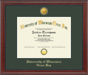 University of Wisconsin Green Bay Diploma Frame - 23K Medallion Diploma Frame in Signature