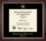 University of Wisconsin Oshkosh Diploma Frame - Gold Embossed Diploma Frame in Regency Gold