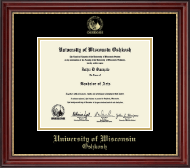 University of Wisconsin Oshkosh Diploma Frame - Gold Embossed Diploma Frame in Kensington Gold
