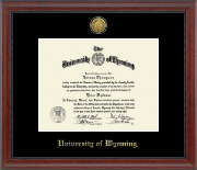 University of Wyoming Diploma Frame - 23K Medallion Diploma Frame in Signature