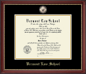 Vermont Law School Diploma Frame - Masterpiece Medallion Diploma Frame in Kensington Gold