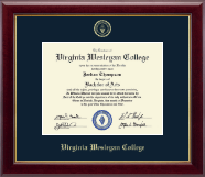 Virginia Wesleyan College Diploma Frame - Gold Embossed Diploma Frame in Gallery