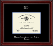 Wayne County Community College District Diploma Frame - Silver Embossed Diploma Frame in Kensington Silver