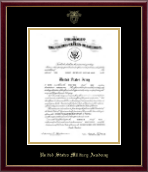 United States Military Academy Certificate Frame - Gold Embossed Commission Certificate Frame in Galleria