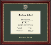 Wesleyan School at Norcross Diploma Frame - Masterpiece Medallion Diploma Frame in Kensington Gold