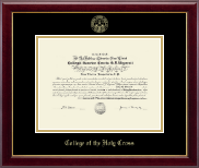 College of the Holy Cross Diploma Frame - Gold Embossed Diploma Frame in Gallery