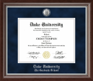 Duke University Diploma Frame - Silver Medallion Diploma Frame in Devonshire