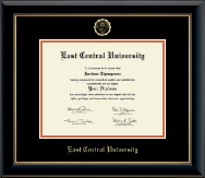 East Central University Diploma Frame - Gold Embossed Diploma Frame in Onyx Gold