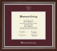 Westmont College Diploma Frame - Silver Embossed Diploma Frame in Devonshire