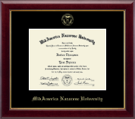MidAmerica Nazarene University Diploma Frame - Gold Embossed Diploma in Gallery
