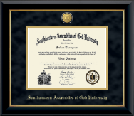 Southwestern Assemblies of God University Diploma Frame - 23K Medallion Diploma Frame in Onyx Gold