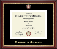 University of Minnesota Twin Cities Diploma Frame - Masterpiece Medallion Diploma Frame in Kensington Gold