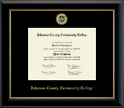 Johnson County Community College Diploma Frame - Gold Embossed Diploma Frame in Onyx Gold