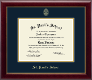 St. Paul's School Diploma Frame - Gold Embossed Diploma Frame in Gallery