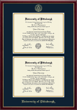University of Pittsburgh Diploma Frame - Gold Embossed Double Diploma Frame in Galleria