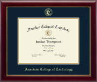 American College of Cardiology Certificate Frame - Gold Embossed Certificate Frame in Gallery