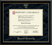 Harvard University Diploma Frame - Gold Embossed Diploma Frame in Onyx Gold