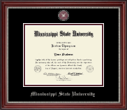 Mississippi State University Diploma Frame - Pewter Masterpiece Medallion Diploma Frame in Kensington Silver
