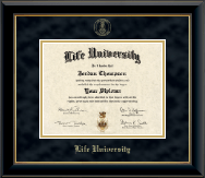 Life University Diploma Frame - Gold Embossed Diploma Frame in Onyx Gold