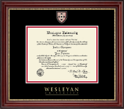 Wesleyan University Diploma Frame - Masterpiece Medallion Diploma Frame in Kensington Gold