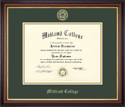 Midland College Diploma Frame - Gold Embossed Diploma Frame in Regency Gold