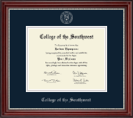 College of the Southwest Diploma Frame - Silver Embossed Diploma Frame in Kensington Silver