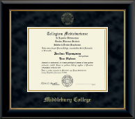 Middlebury College Diploma Frame - Gold Embossed Diploma Frame in Onyx Gold