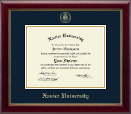 Xavier University Diploma Frame - Gold Embossed Diploma Frame in Gallery