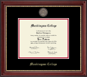 Muskingum College Diploma Frame - Masterpiece Medallion Diploma Frame in Kensington Gold
