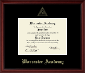 Worcester Academy Diploma Frame - Gold Embossed Diploma Frame in Camby