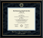 University of North Carolina Chapel Hill Diploma Frame - Gold Embossed Diploma Frame in Onyx Gold