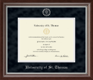 University of St. Thomas Diploma Frame - Silver Embossed Diploma Frame in Devonshire