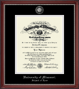 University of Missouri Columbia Diploma Frame - Masterpiece Medallion Diploma Frame in Kensington Silver