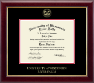 University of Wisconsin River Falls Diploma Frame - Gold Embossed Diploma Frame in Gallery