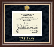 Wesleyan University Diploma Frame - Gold Engraved Medallion Diploma Frame in Hampshire