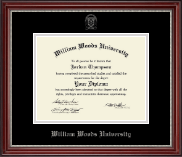 William Woods University Diploma Frame - Silver Embossed Diploma Frame in Kensington Silver