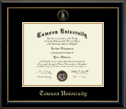 Towson University Diploma Frame - Gold Embossed Diploma Frame in Onyx Gold