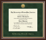 The University of Texas Pan American Diploma Frame - Gold Engraved Medallion Diploma Frame in Hampshire