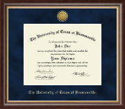 University of Texas at Brownsville Diploma Frame - Gold Engraved Medallion Diploma Frame in Hampshire