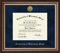 University of Wisconsin-Stout Diploma Frame - Gold Engraved Medallion Diploma Frame in Hampshire