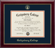 Gettysburg College Diploma Frame - Gold Embossed Diploma Frame in Gallery