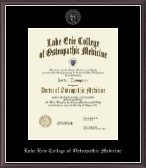 Lake Erie College of Osteopathic Medicine Diploma Frame - Silver Embossed Diploma Frame in Devon