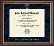 Palmer College of Chiropractic Iowa Diploma Frame - Silver Embossed Diploma Frame in Devonshire