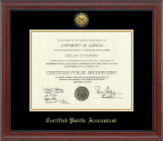 Certified Public Accountant Certificate Frame - Gold Engraved Medallion Certificate Frame in Signature