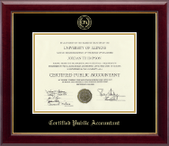Certified Public Accountant Certificate Frame - Gold Embossed Certificate Frame in Gallery