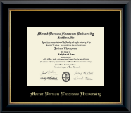 Mount Vernon Nazarene University Diploma Frame - Gold Embossed Diploma Frame in Onyx Gold